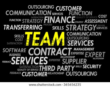 Word cloud of TEAM related items, presentation background - stock photo