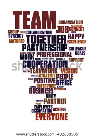 Word cloud of the concept of team and the bonding of its teammates for successful endeavors