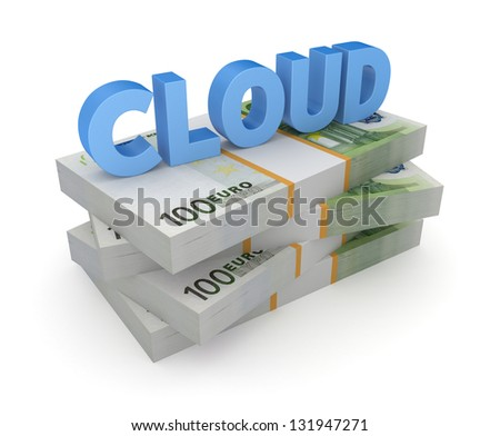 Word CLOUD on stack of euro.Isolated on white background.3d rendered. - stock photo