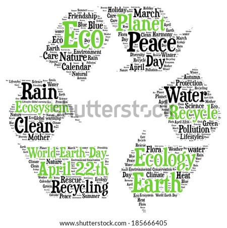 Word cloud recycle symbol related to ecology and environment on white background - stock photo