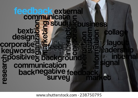 word cloud related to feedback written by businessman
