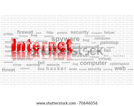 word cloud related to internet - stock photo