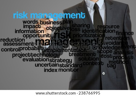 word cloud related to risk management written by businessman - stock photo