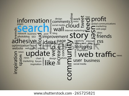 Word cloud. Search concept - stock photo
