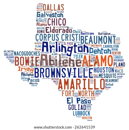 Word cloud shaped like Texas with the names of cities found in Texas - stock photo