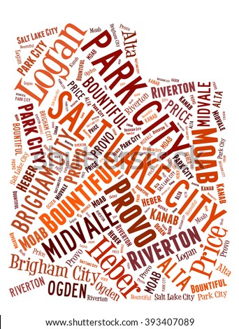 Word Cloud showing various cities in the state of Utah - stock photo