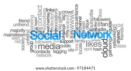 Word cloud - Social Network - stock photo