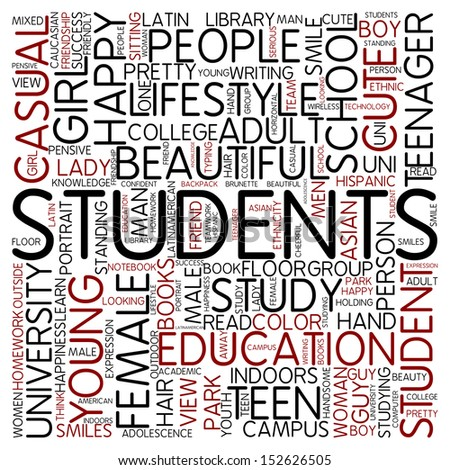 Word cloud - students - stock photo