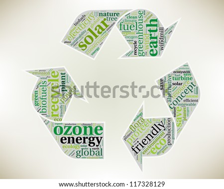 Word cloud, tag cloud text business concept. Recycle silhouette sign with the words on the topic of recycling, friendly, eco, environment. Word collage. - stock photo
