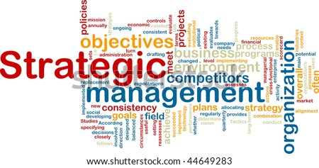Word cloud tags concept illustration of strategic management - stock photo
