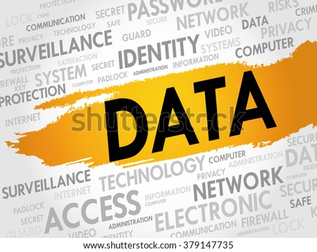Word Cloud with Data related tags, business concept - stock photo