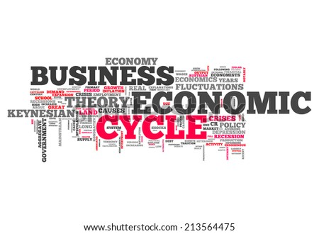 Word Cloud with Economic Cycle related tags - stock photo