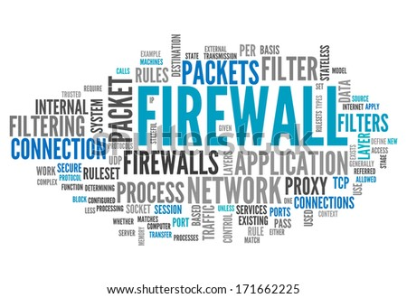 Word Cloud with Firewall related tags - stock photo