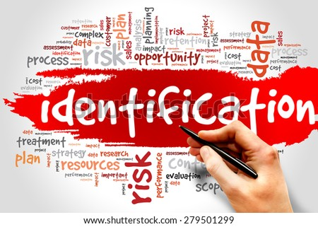 Word Cloud with Identification related tags business concept - stock photo