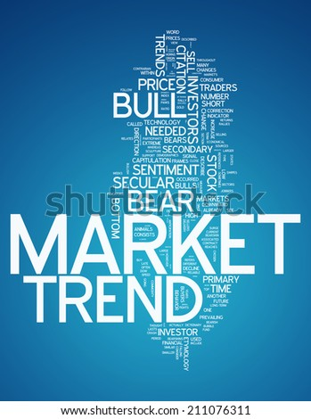 Word Cloud with Market Trend related tags - stock photo