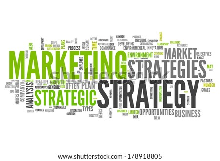 Word Cloud with Marketing Strategy related tags - stock photo