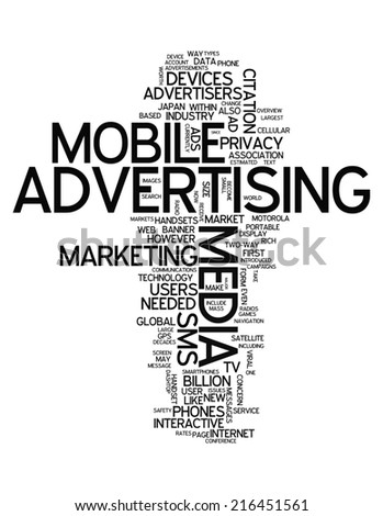 Word Cloud with Mobile Advertising related tags - stock photo