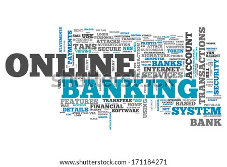 Word Cloud with Online Banking related tags - stock photo