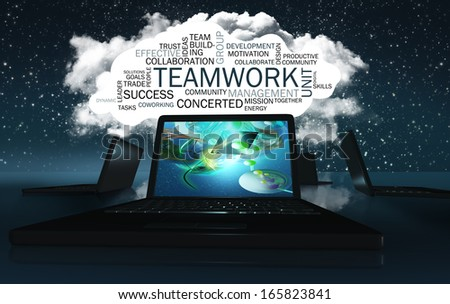 Word Cloud with Positive Words about Collaboration and Possibilities - stock photo