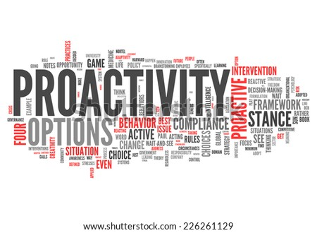 Word Cloud with Proactivity related tags - stock photo