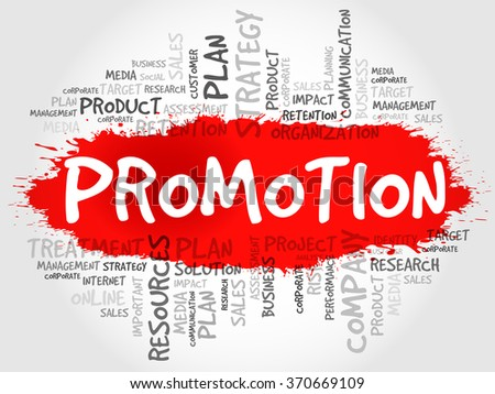 Word Cloud with Promotion related tags, business concept - stock photo