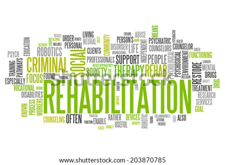 Word Cloud with Rehabilitation related tags - stock photo