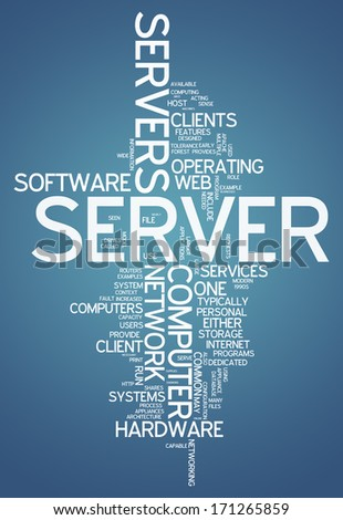 Word Cloud with Server related tags - stock photo