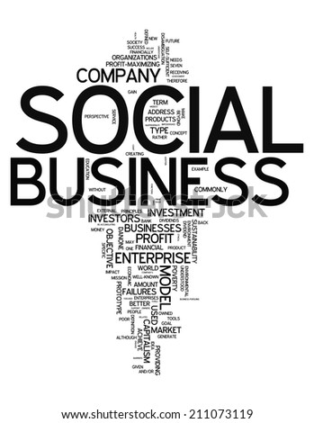 Word Cloud with Social Business related tags - stock photo