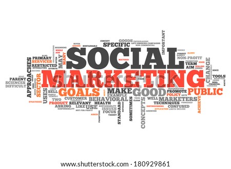 Word Cloud with Social Marketing related tags - stock photo