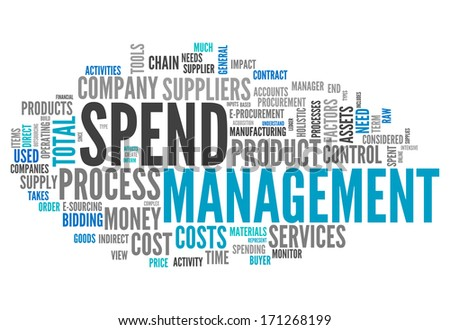 Word Cloud with Spend Management related tags - stock photo
