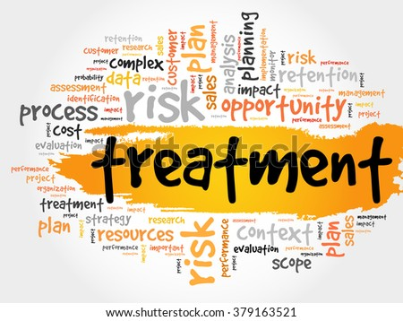 Word Cloud with Treatment related tags, business concept - stock photo