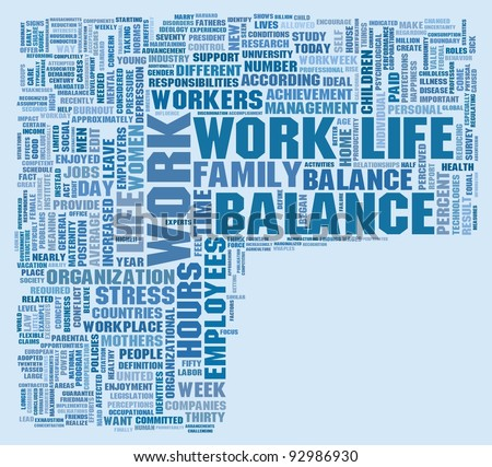 Word Collage of Work and Life Balance, space for your own text - stock photo
