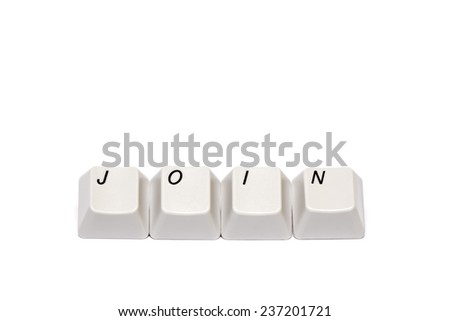 word collected from computer keyboard buttons join isolated on white background, in studio - stock photo