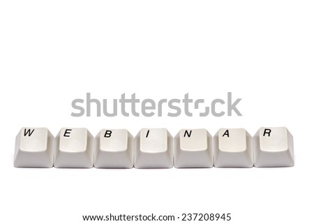 Word collected from computer keyboard buttons webinar isolated on white background, studio shot. - stock photo