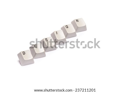 Word collected from computer keyboard letters buttons design isolated on white - stock photo
