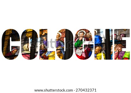 Word COLOGNE over Stained glass church window - stock photo