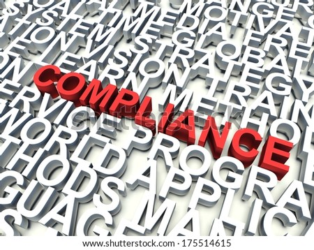 Word Compliance in red, salient among other related keywords in white. 3d render illustration. - stock photo