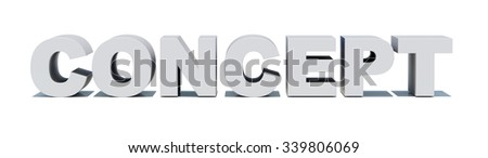 Word concept on isolated white background, front view