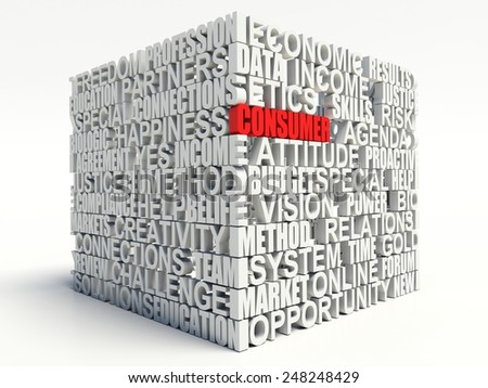 Word consumer in red, salient among other related keywords concept in white. 3d render illustration. - stock photo