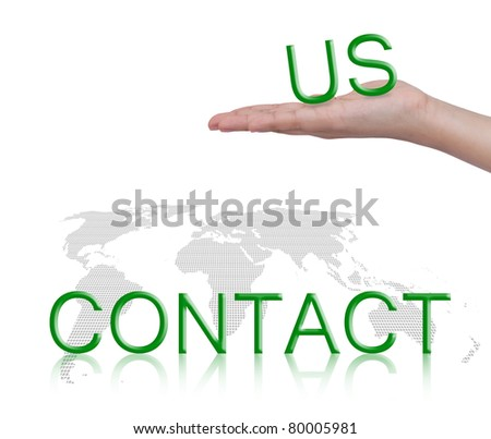 """Word """" contact us """"and female hand, business concept, isolated on white background - stock photo"""