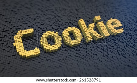 Word 'Cookie' of the yellow square pixels on a black matrix background. HTTP cookie - website tag technology concept. - stock photo