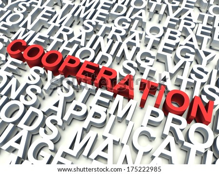 Word Cooperation in red, salient among other related keywords concept in white. 3d render illustration. - stock photo
