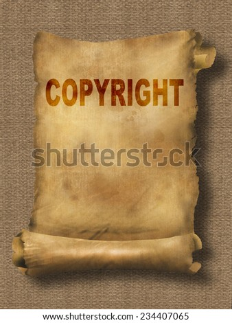 word copyright on paper scroll made in 2d software