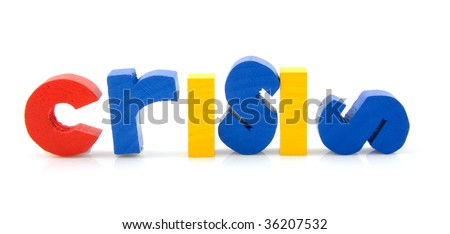 word Crisis in colorful wooden letters, isolated on white background