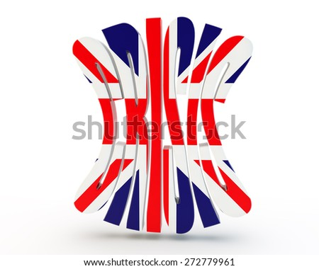"word ""crisis"" with the England flag - stock photo"