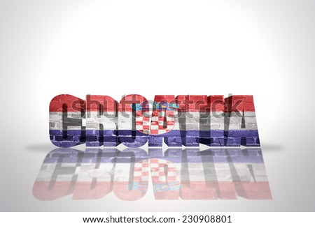 Word Croatia with National Flag on the white background