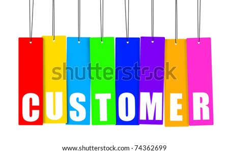 Word CUSTOMER in colorful hanging tags, clipping paths included. - stock photo