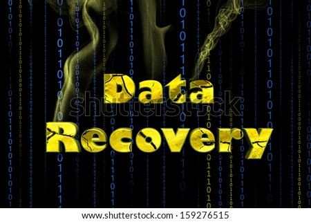 Word Data recovery in black background - stock photo