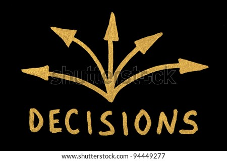 Word Decision and arrows over black - stock photo