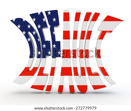 """word """"default"""" with a flag of the United States of America - stock photo"""